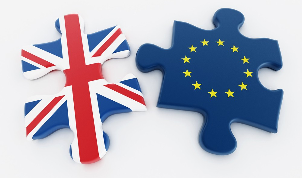 Britain and European Union flags on attached puzzle parts. 3D illustration.; Shutterstock ID 4222946
