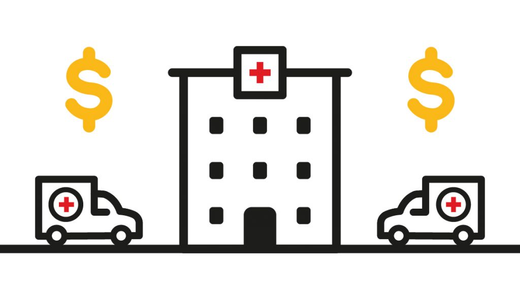 Animation of two ambulances and a hospital